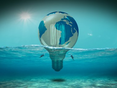 Earth, drowning because of fossil fuel use 3