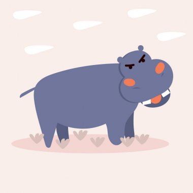 Cute angry Hippo. Vector illustration for children's books, postcards in simple Doodle style by hand icon