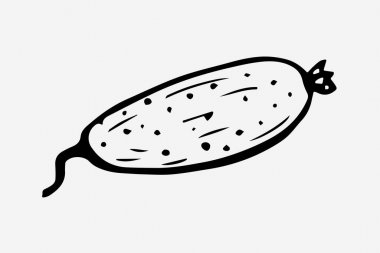 One hand-drawn cucumber design for greeting cards, posters, recipes, cooking design. Isolated on a white background. A drawn vector element. Black and white graphics icon