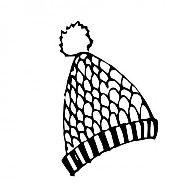Single hand drawn hat with a pompom for children's illustration. Doodle vector illustration. Isolated on a white background, black and white graphics icon