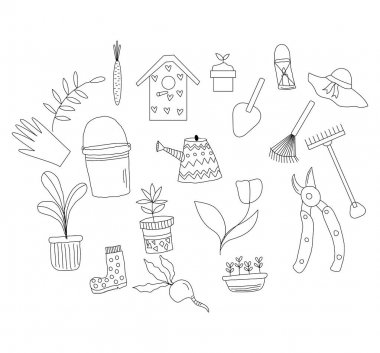 Vector Garden Tool Kit Hand-drawn Doodle Style icon