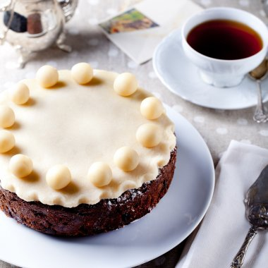 Traditional English Easter cake with marzipan