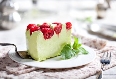 Pistachio mousse cake,
