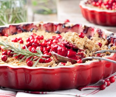 Cranberries, bilberries crumble with rosemary