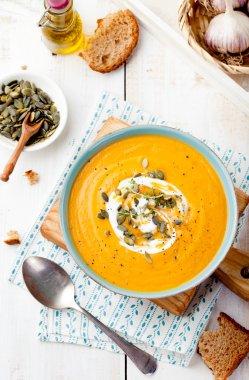 """Картина, постер, плакат, фотообои """"Запеченный тыквенный и морковный суп со сливками ."""", артикул 88095114"""