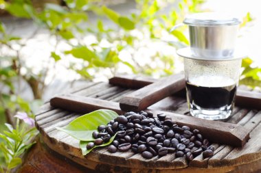 Black coffee with freshly roasted beans. Vietnamese style.