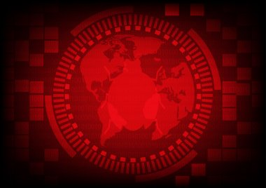 Red gear ring with malware bug a computer virus on world map.