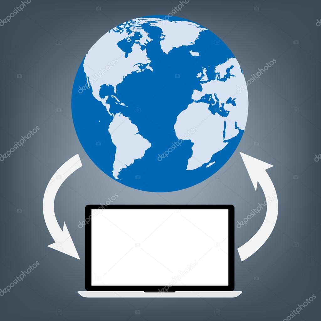 computer laptop connected to world map globe for upload and download data vector illustration cloud computing technology world connectivity concept