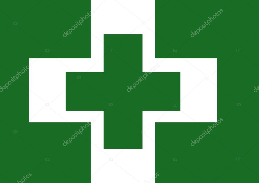 Vector Of Japanese Cultural Flag Of Safety And Health Green Cross