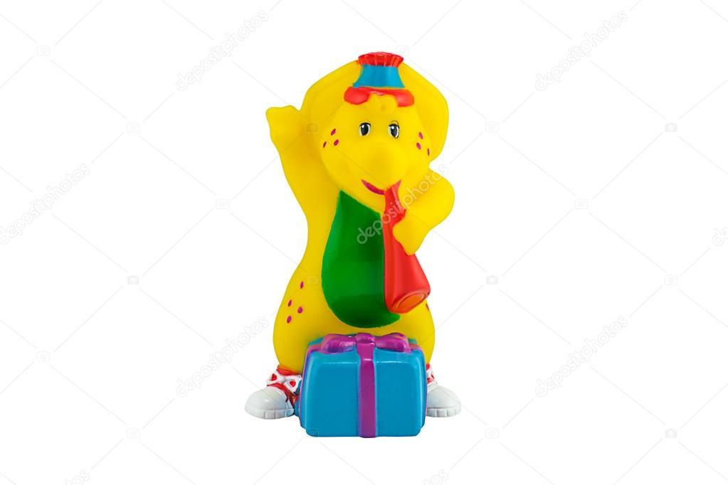 BJ The yellow Dinosaur figure toy wear a birthdays costume