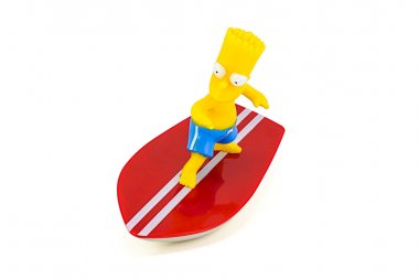 Bart Simpson standing on surfboard figure toy character from The