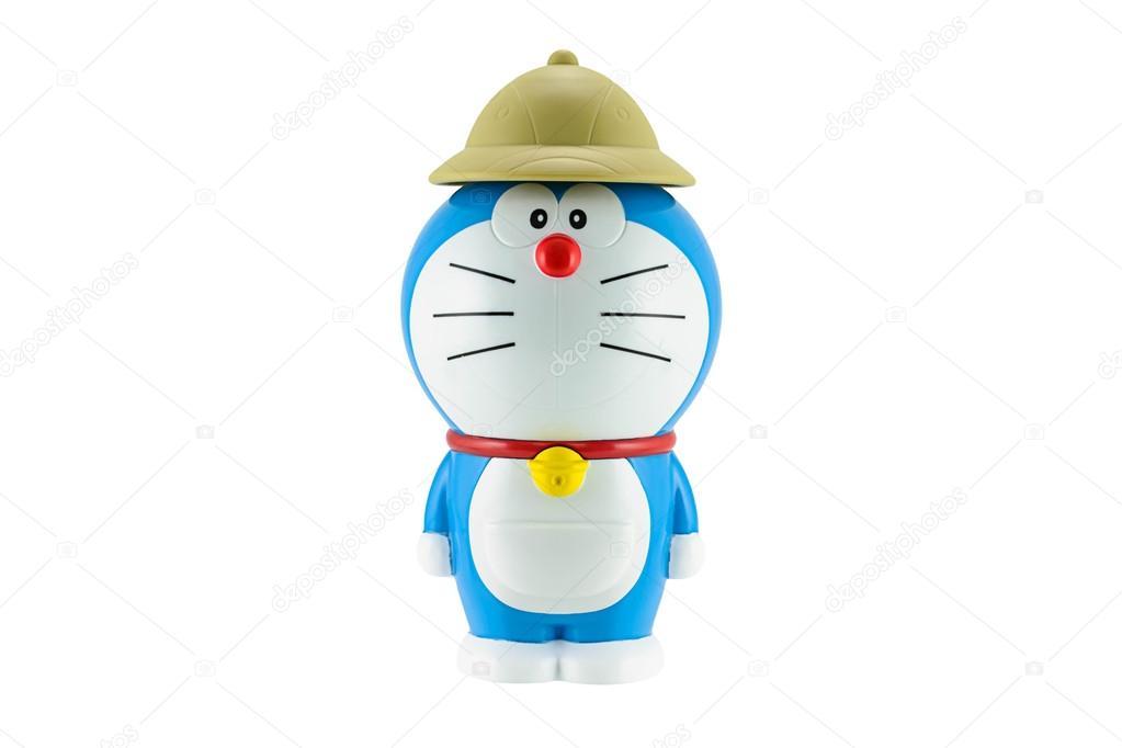 Doraemon un gatto robot blu con il cappello marrone un