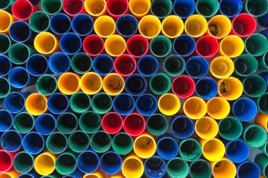 Top view of primary colors of mix color cups  for aetist painting