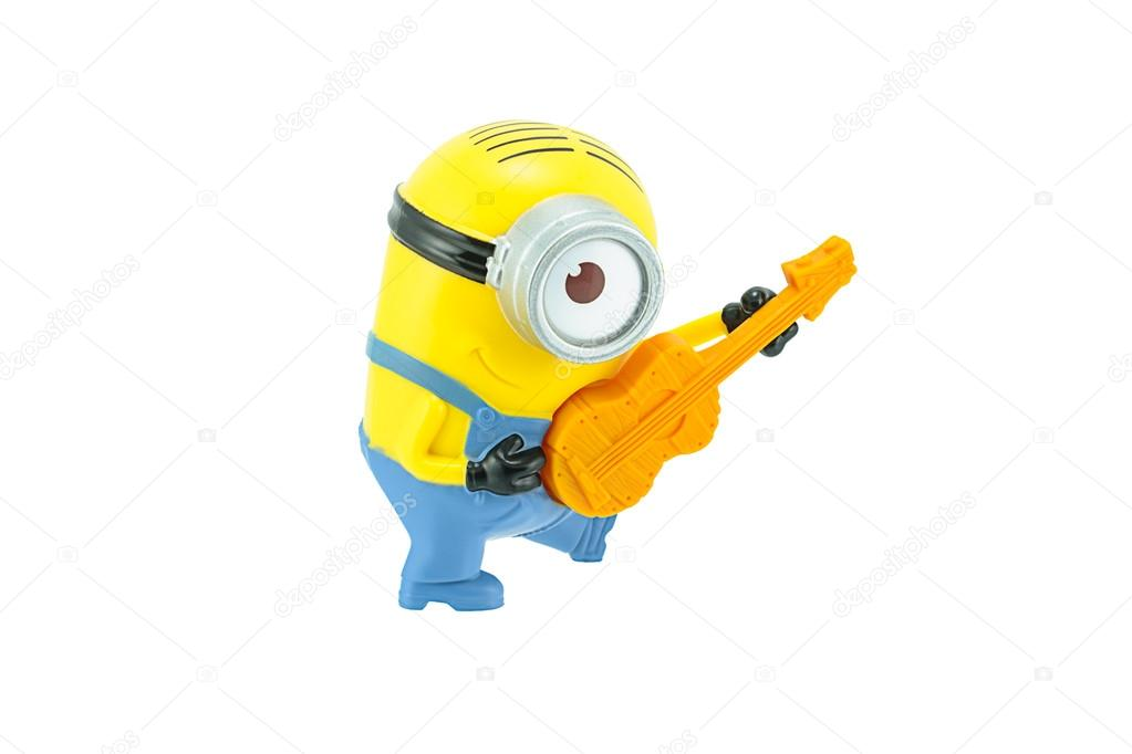 Minions playing a guitar toy character