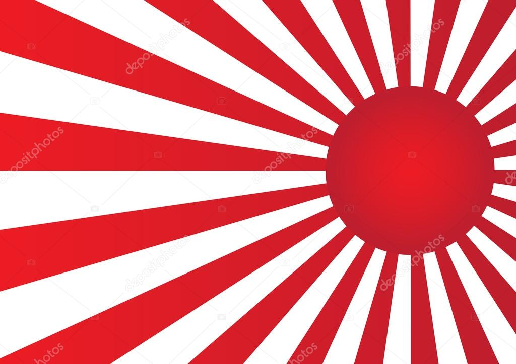 red sun with ray on white background japan flag style. — stock