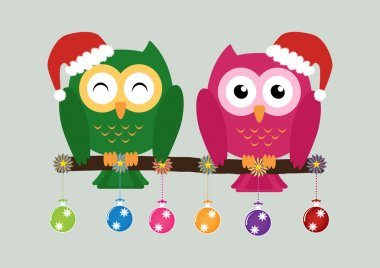 Two owls on tree wearing a red santa claus hat with christmas mu