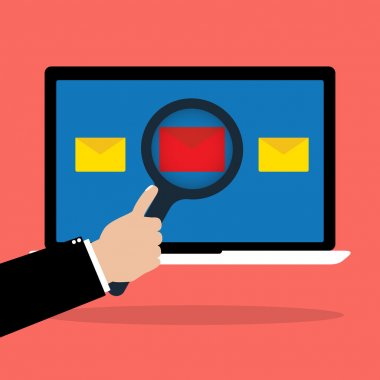 Businessman hold a magnifying glass scan red email with malware