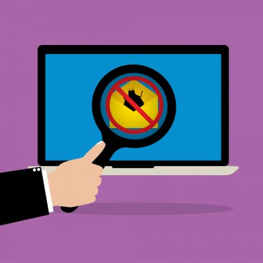 Businessman hold a magnify glass scanning email with malware bug