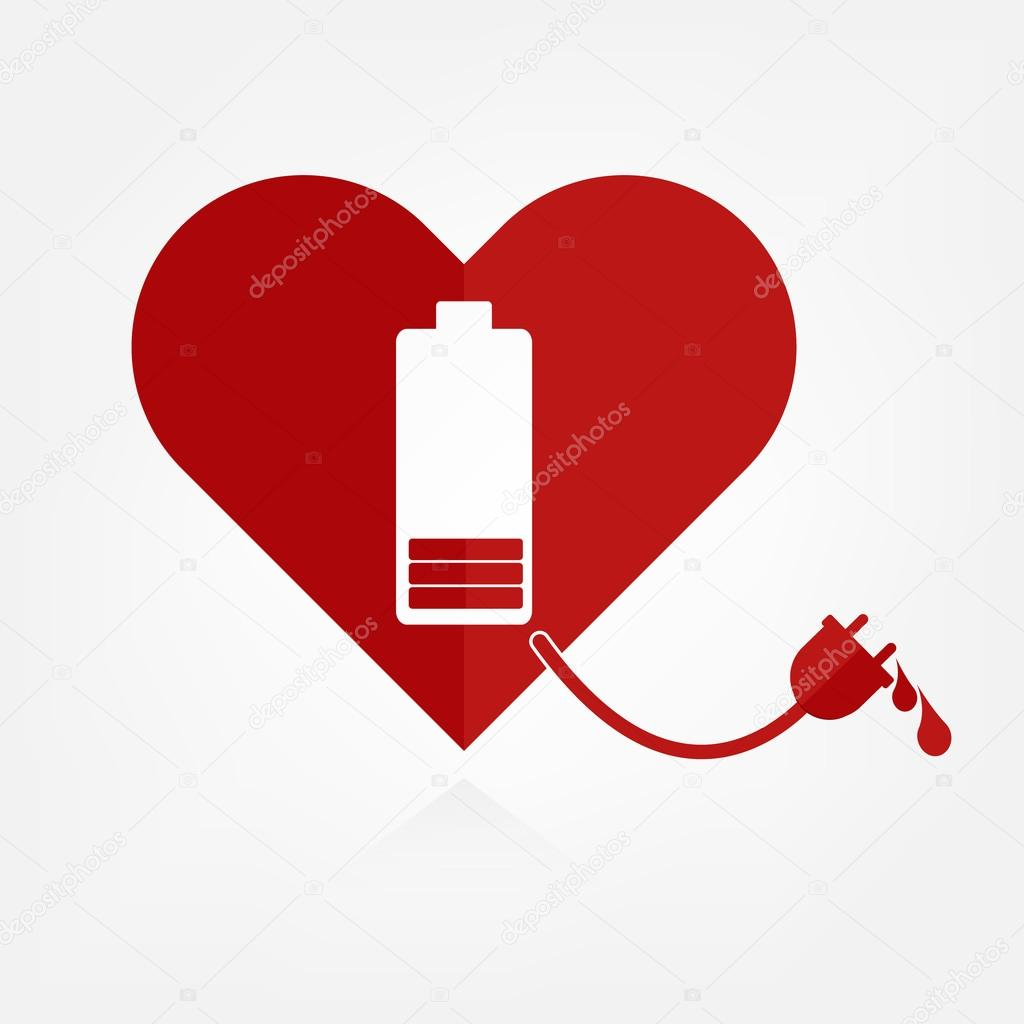 Flat design red hearts with low battery charger sign and power line with bloods. Valentine Love power concept.