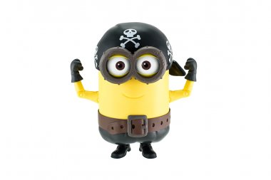 Pirate minion with hat with skull and crossbones toy