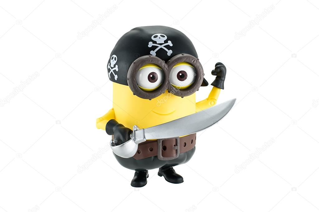 Minion waving | Pirate minion with sword and hat with skull