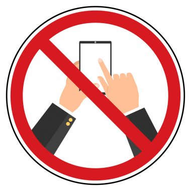 Flat design do not use mobile phone restrict sign.