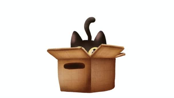 Niedliche Katze in einem Kasten Animation 2D Cartoon-Charakter