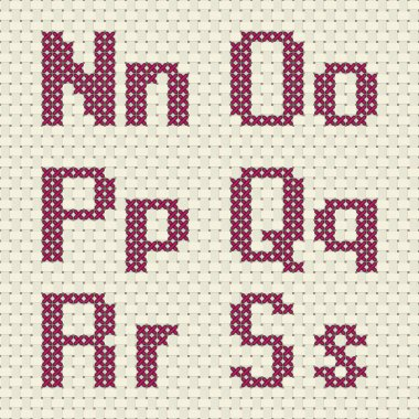 Cross stitch alphabet and number.