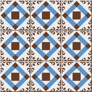Vintage seamless wall tiles of check square cross flower, Moroccan, Portuguese.