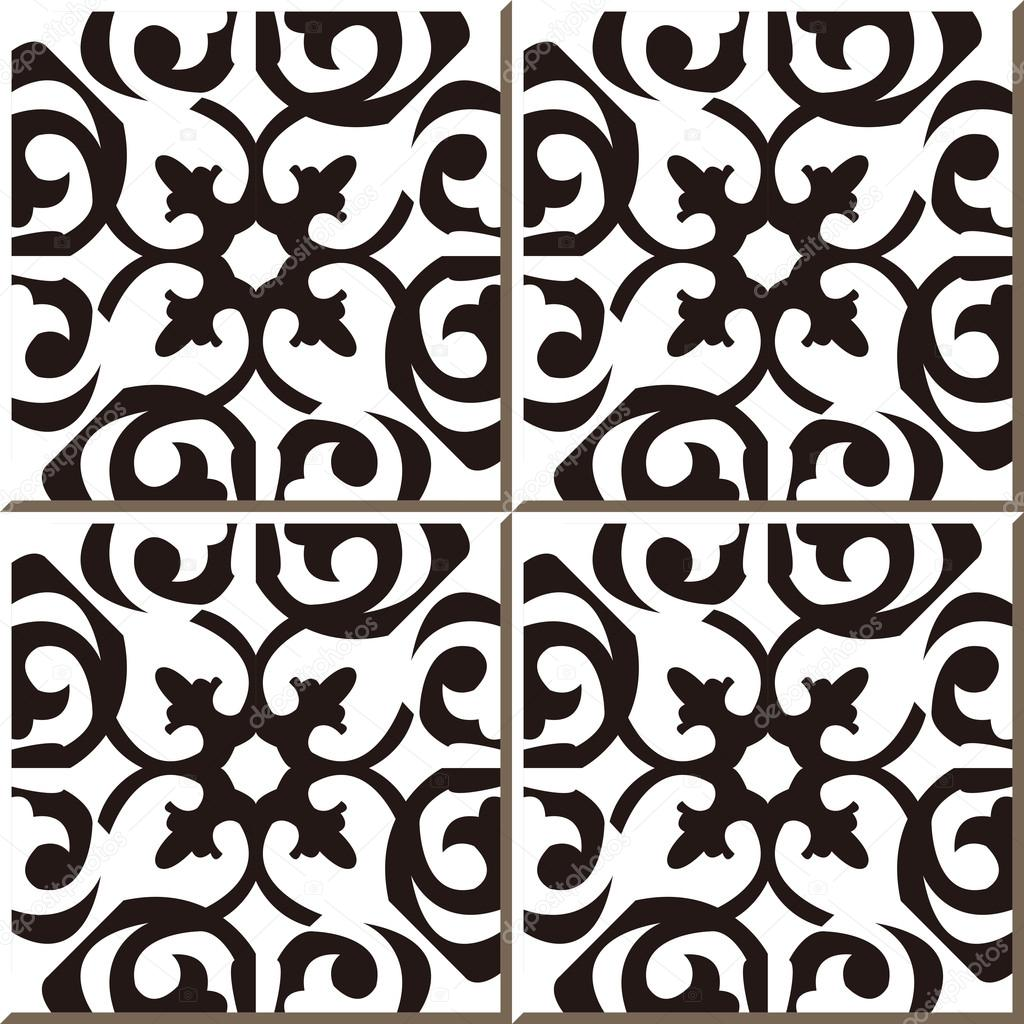 Vintage seamless wall tiles of black white curve spiral, Moroccan ...