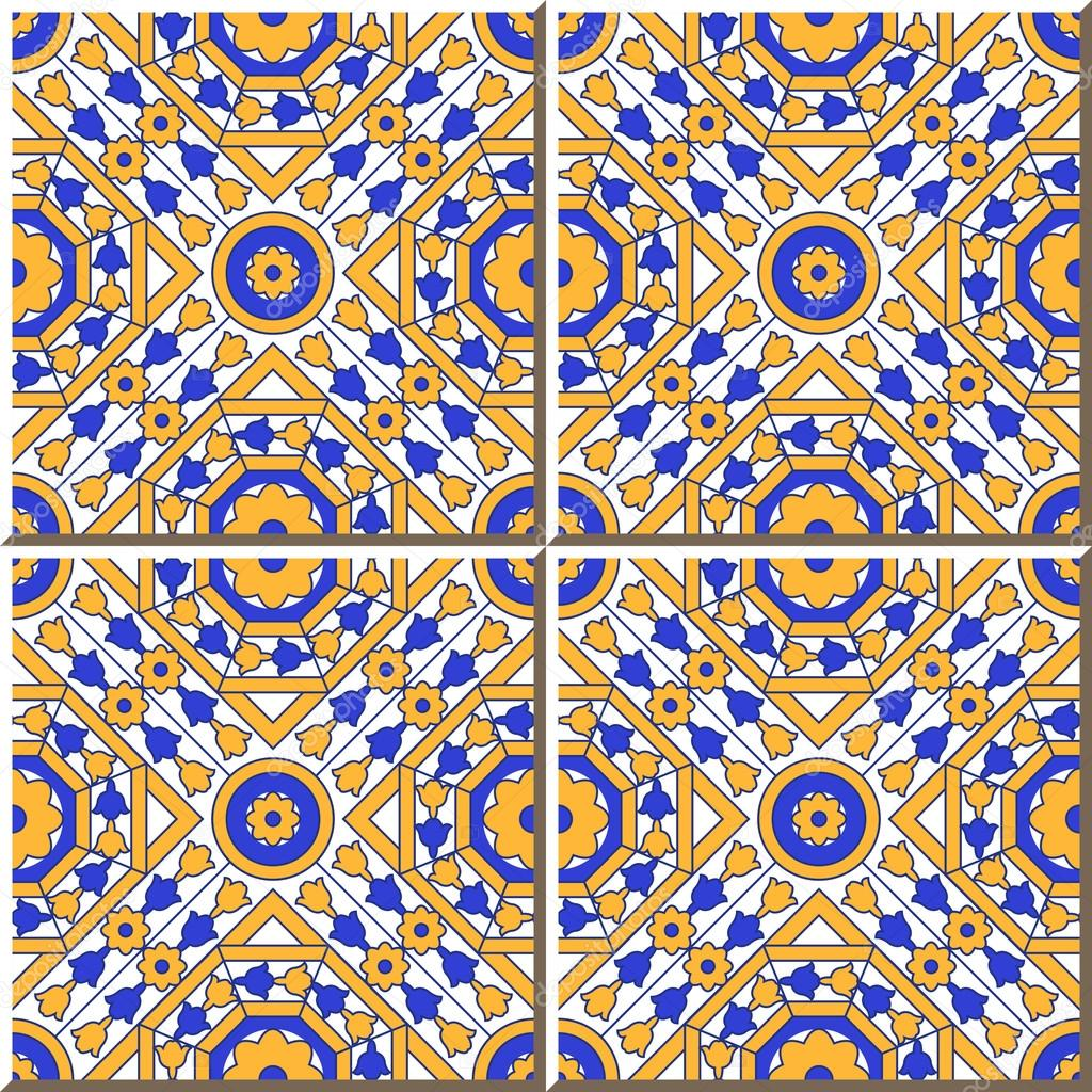 Vintage seamless wall tiles of square round octagon flower, Moroccan ...