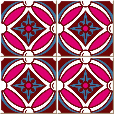 Vintage seamless wall tiles of pink round cross flower, Moroccan, Portuguese.