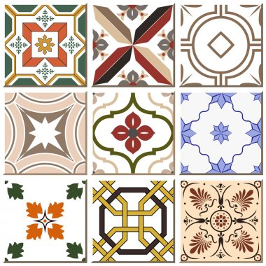 Antique retro ceramic tile pattern set collection can be used for wallpaper, web page background, surface textures. clip art vector