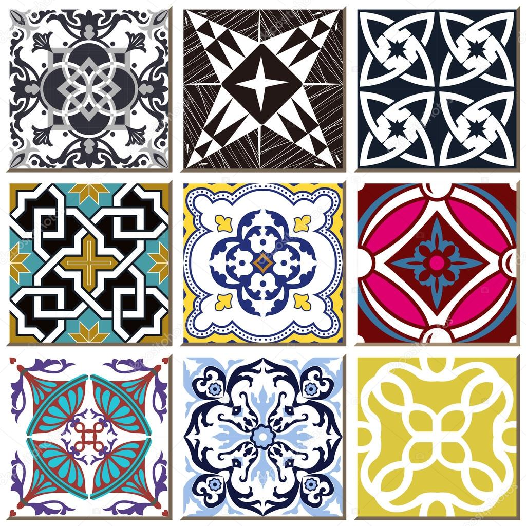Vintage Retro Ceramic Tile Pattern Set Collection 029