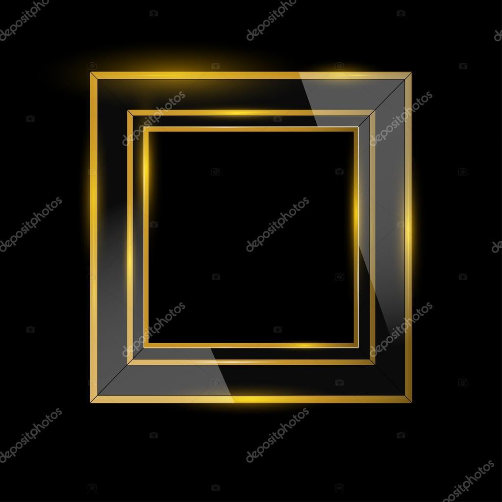 Glasrahmen mit Gold auf schwarzem Hintergrund — Stockvektor © shakty ...
