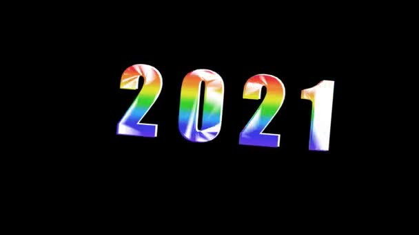 New year 2021. 2021 numbers in the center. Animation