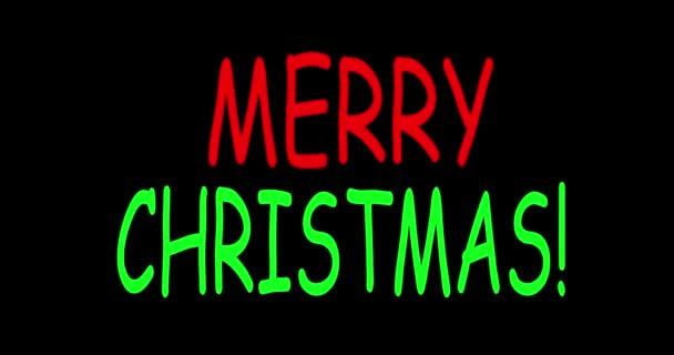 Veselé vánoce, neónová písmena. Veselé Vánoce. Oslava. Pozdrav. Animace