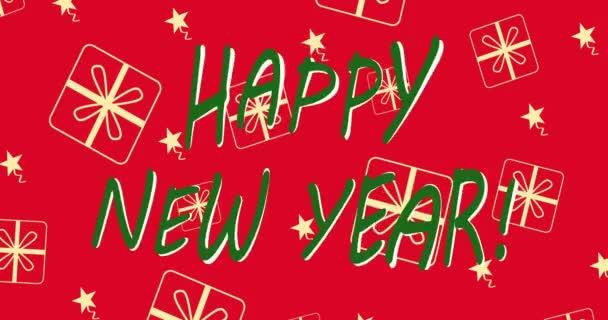Šťastný Nový rok na červeném pozadí. Animace