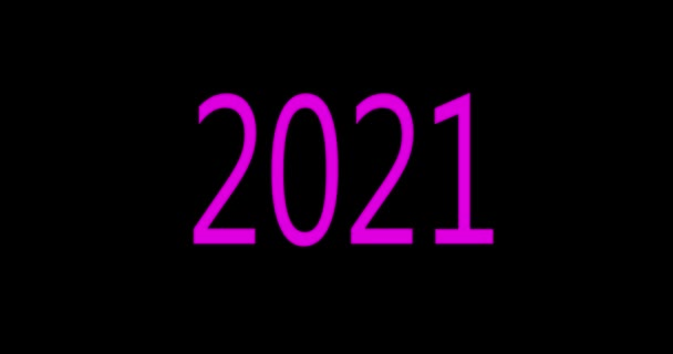 2021 neon. 2021 numbers in the center. New year Animation