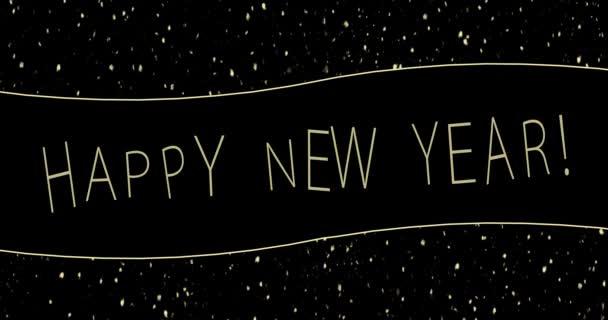 Boldog új évet banner, arany és fekete, újév piros háttér, ajándékdobozok, kilátás felülről és arany hópehely, arany karácsonyfa. Boldog Karácsonyt!