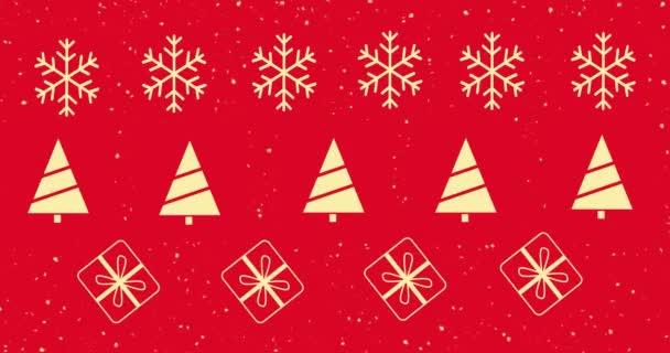 šťastný Nový rok dlouhý banner, zlato a černá, Nový rok červené pozadí, dárkové krabice, pohled shora a zlatá sněhová vločka, zlatý vánoční stromek. Veselé vánoční přání