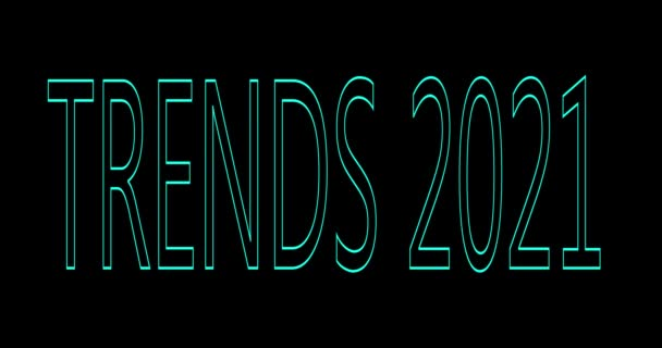 Koncept trendů2021. Animace chybových slov, čísel a písmen na černém pozadí. Moderní trendy design pohybu.