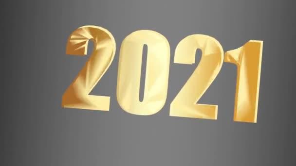 Nový rok2021. Tmavé pozadí a čísla 2021 uprostřed. Animace