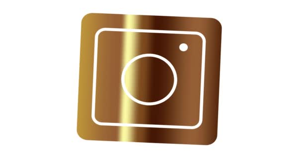 Editorial Instagram icon in gold color. Social network animation icon