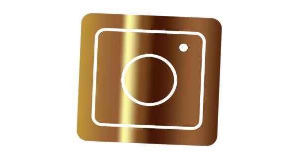 Ikona Editorial Instagram ve zlaté barvě. Ikona animace sociální sítě