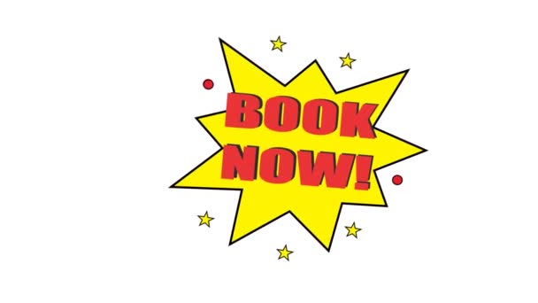 book now thin line badge.