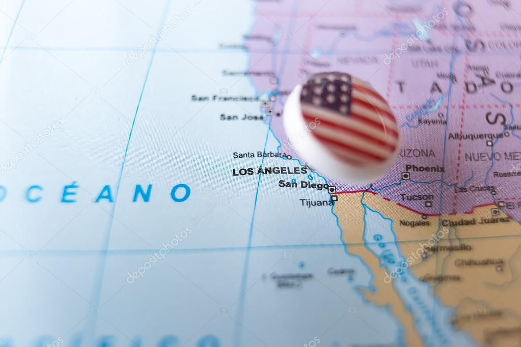 Map Of America Los Angeles.Usa Pin Pointing Los Angeles On American Map Stock Photo