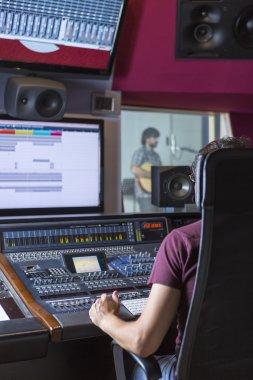 sound engineer at recording studio