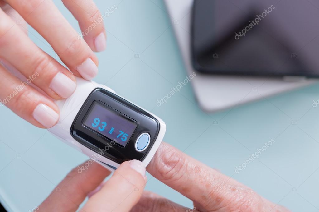 Doctor finger patient
