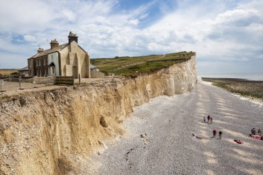 The cliffs and lighthouse at Beachy Head on the south coast of England.